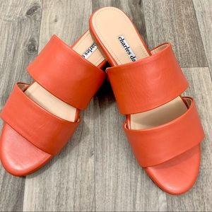 NWOT Charles Davids coral leather sandal.  Size 6M